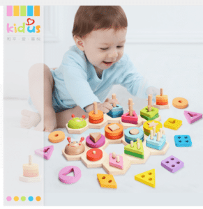 Wooden mounting puzzle for babies