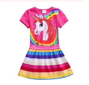 A dress with a unicorn figure