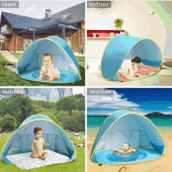 אוהל לחוף עם בריכה/ארגז חול