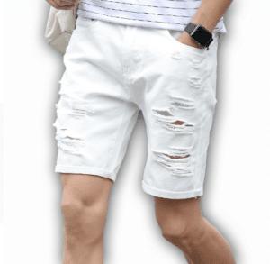 מכנס ג'ינס קצר קרעים