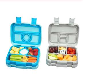 A lunch box is divided into cells