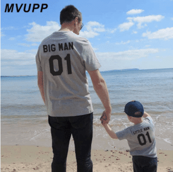 A matching shirt for dad and son