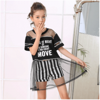 T-shirt and striped pants for girls