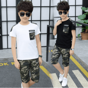 T-shirt and military pants for children