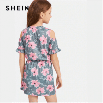 שמלה קצרה פרחונית לילדות